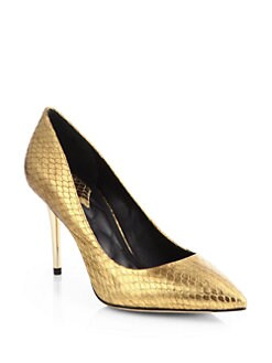 B Brian Atwood - Malika Snake-Embossed Metallic Leather Pumps