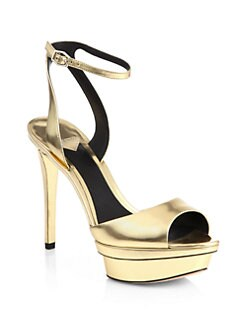 B Brian Atwood - Femme Fatale Metallic Leather Platform Sandals