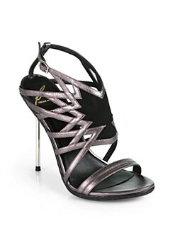 B Brian Atwood - Marseille Artistic Metallic Leather & Snakeskin Sandals