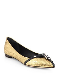 B Brian Atwood - Vendetta Studded Metallic Snake-Embossed Leather Flats