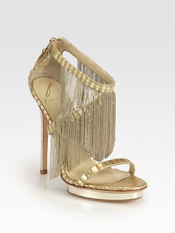 B Brian Atwood - Cassiane Chain Fringe Platform Sandals