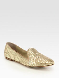 B Brian Atwood - Claudelle Metallic Snakeskin Smoking Slipper