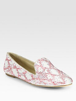 B Brian Atwood - Claudelle Crystal-Studded Suede Smoking Slippers