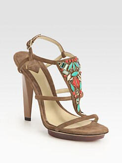 B Brian Atwood - Donosa Jewel-Embellished Suede Platform Sandals