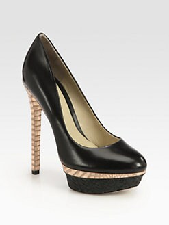 B Brian Atwood - Fontanne Leather & Raffia Platform Pumps