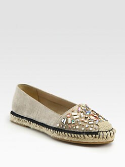 B Brian Atwood - Hardesty Jeweled Canvas Espadrilles