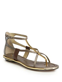 B Brian Atwood - Caswell Perforated Metallic Leather Sandals