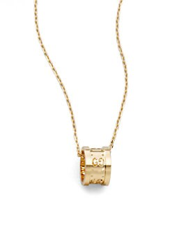 Gucci - 18k Yellow Gold Small GG Barrel Necklace