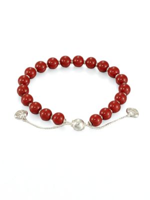 San Valentino Wood & Sterling Silver Beaded Bracelet