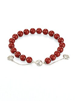 Gucci - Wood & Sterling Silver Beaded Bracelet