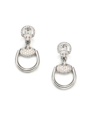 gucci female 265985 horsebit diamond 18k white gold drop earrings