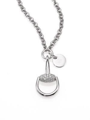 gucci 265985 horsebit diamond 18k white gold pendant necklace