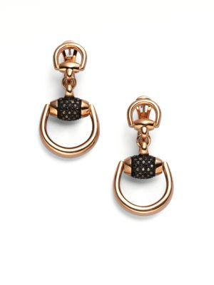 gucci female 255807 horsebit black diamond 18k rose gold drop earrings