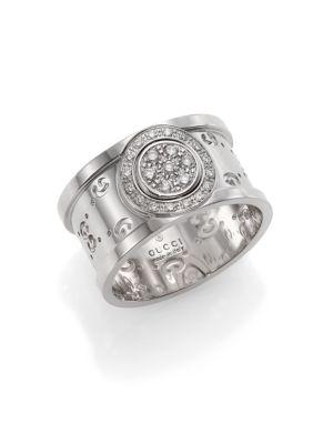 gucci female 265985 icon twirl diamond 18k white gold medium band ring