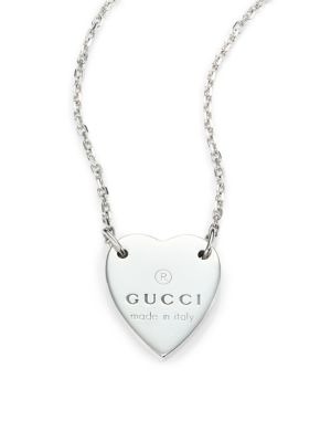 gucci female 45900 sterling silver signature heart pendant necklace