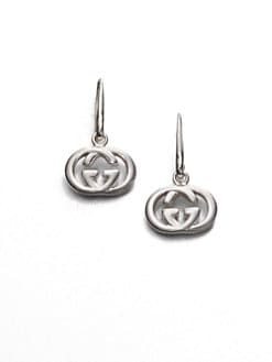 Gucci - Sterling Silver Double G Drop Earrings