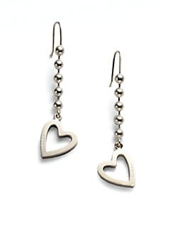 Gucci - Sterling Silver Heart Drop Earrings