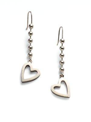 gucci female 45900 sterling silver heart drop earrings