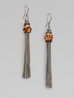 Gucci - Bamboo Sterling Silver Foxtail Tassel Earrings