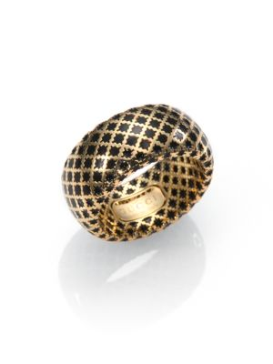 gucci female 224337 diamantissima 18k yellow gold enamel ring