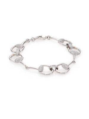 gucci female 265985 horsebit diamond 18k white gold bracelet