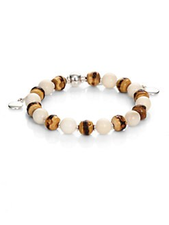 Gucci - Sterling Silver and Wood Bead Bracelet
