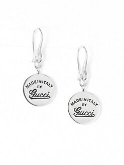 Gucci - Sterling Silver Signature Disc Drop Earrings