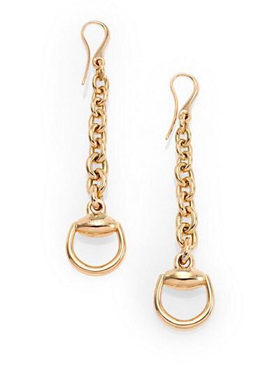 6b12babcea3 Gucci 18K Yellow Gold Horsebit Drop Earrings Gold on PopScreen