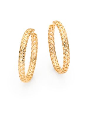 Diamantissima 18K Yellow Gold Hoop Earrings/1.5""