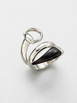 Gucci - Sterling Silver & Black Horn Wrapped Ring