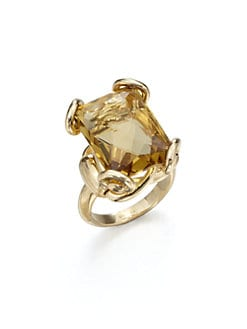 Gucci - 18K Gold Cognac Quartz Ring