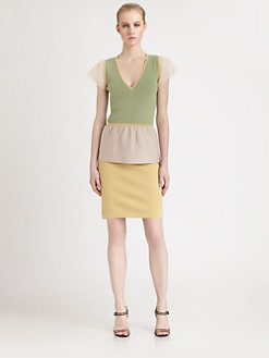 Fendi - Organza-Sleeve Colorblock Dress