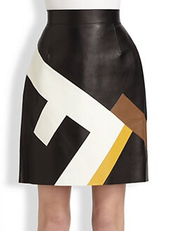 Fendi - Leather Maxi F Skirt