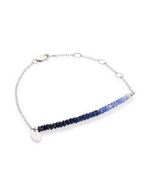 Sapphire & 14K White Gold Ombré Beaded Bracelet