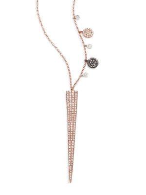 Diamond & 14K Yellow Gold Spike Pendant Necklace