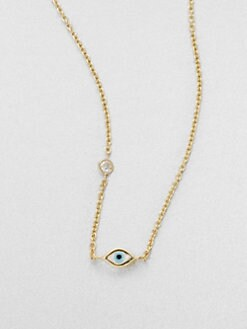 Sydney Evan - 14K Gold Evil Eye Pendant Necklace