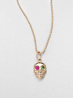 Sydney Evan - 14K Gold Skull Pendant Necklace