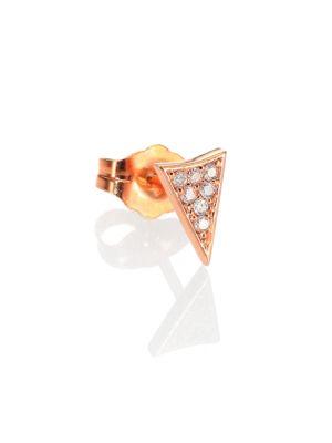Diamond & 14K Rose Gold Pavé Triangle Single Stud Earring
