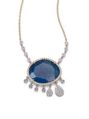 Apatite, White Topaz, Diamond & 14K Yellow Gold Doublet Charm Pendant Necklace