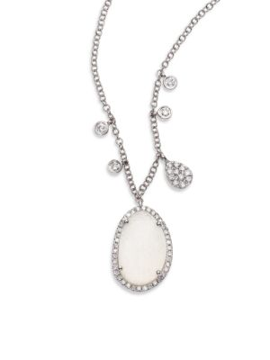 Druzy, Diamond & 14K White Gold Pendant Necklace