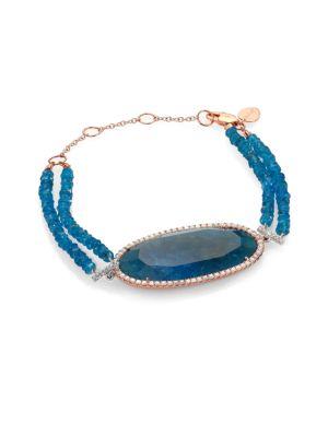MEIRA T Apatite, Diamond & 14K Rose Gold Two-Row Beaded Bracelet