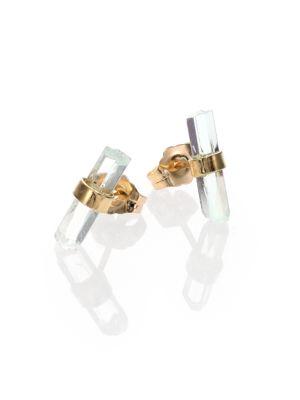 Aquamarine & 14K Yellow Gold Small Bar Stud Earrings