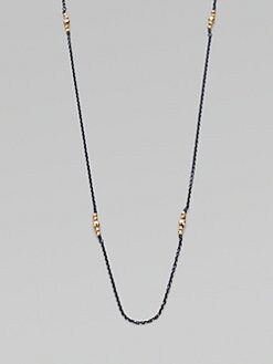 Mizuki - Oxidized Sterling Silver 14K Gold Bead Cluster Necklace