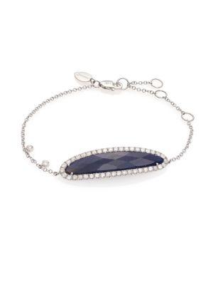 Pavé Diamond, Blue Sapphire, Silver & 14K White Gold Bracelet