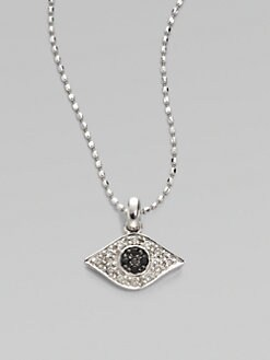 Sydney Evan - Diamond, Blue Sapphire & 14K White Gold Evil Eye Necklace