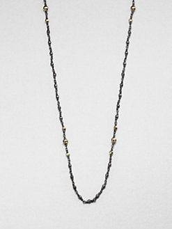 Mizuki - Blackened Sterling Silver & 14K Gold Beaded Station Necklace