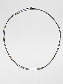 Mizuki - 14K Gold & Sterling Silver Long Station Necklace