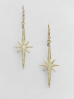 Mizuki - Diamond & 14K Gold Starburst Drop Earrings