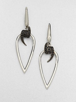 Stephen Webster - Black Sapphire & Sterling Silver Barb Drop Earring