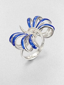 Stephen Webster - Diamond and Sterling Silver Bow Ring/Blue